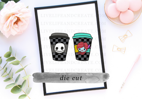 Jack and Sally Checkered Cup Die Cuts