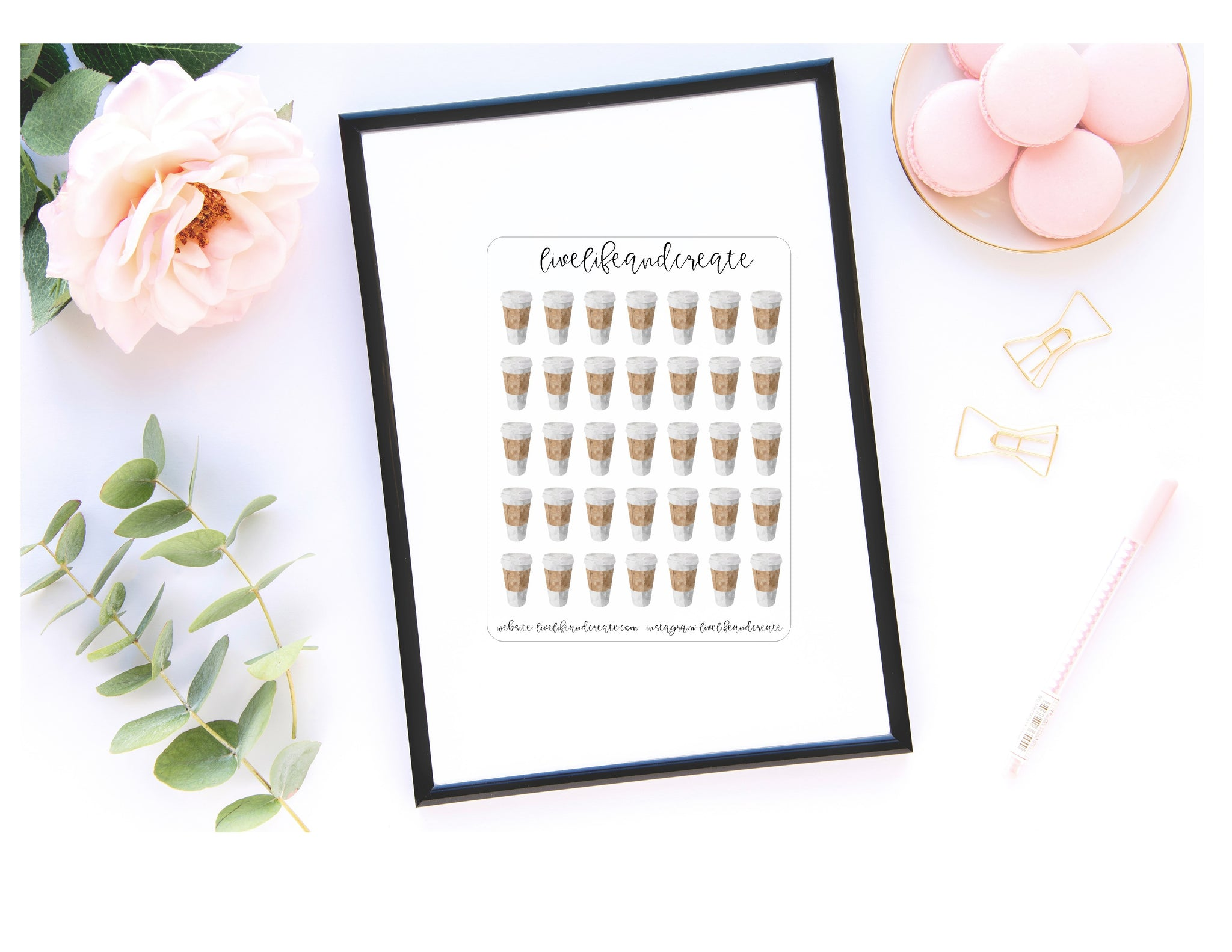 Watercolor Cup quarter sticker sheet