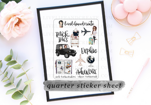 Tan Travel Planner Girl Reformatted + Die Cut Option