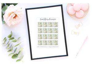 TN floral deco quarter sticker sheet