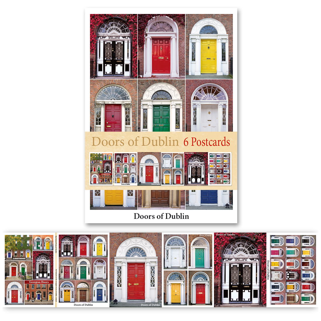 Doors of Dublin - Pack of 6 Postcards