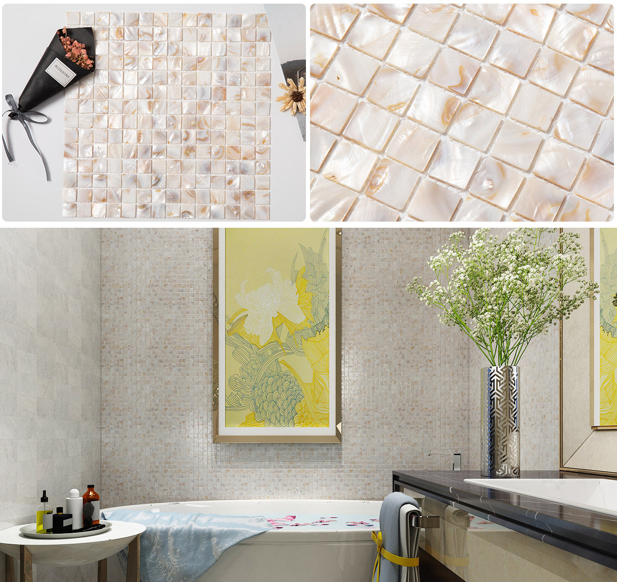 diflart light color pearl shell mosaic tile
