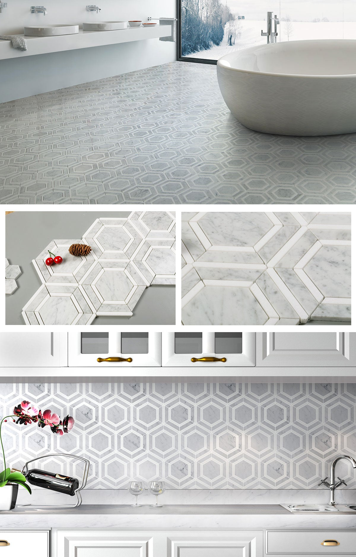 diflart carrara marble hexagon appeal tile