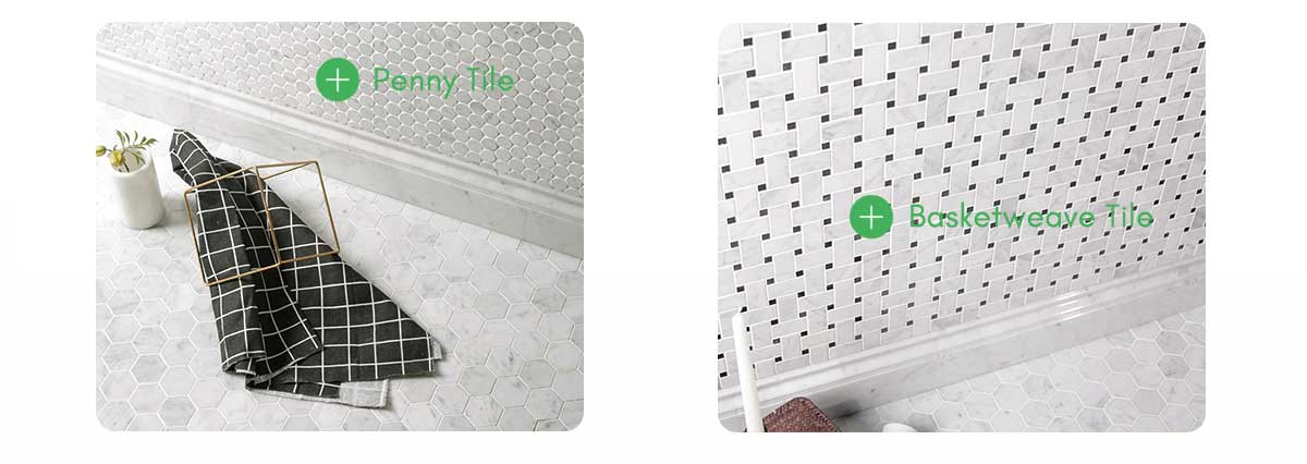 diflart bianco white carrara hexagon tile