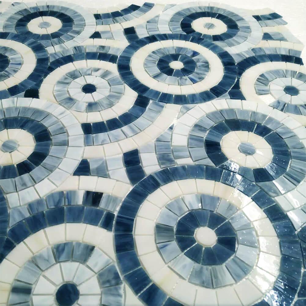 Concentric Circles-Stained Glass Mosaic Tile