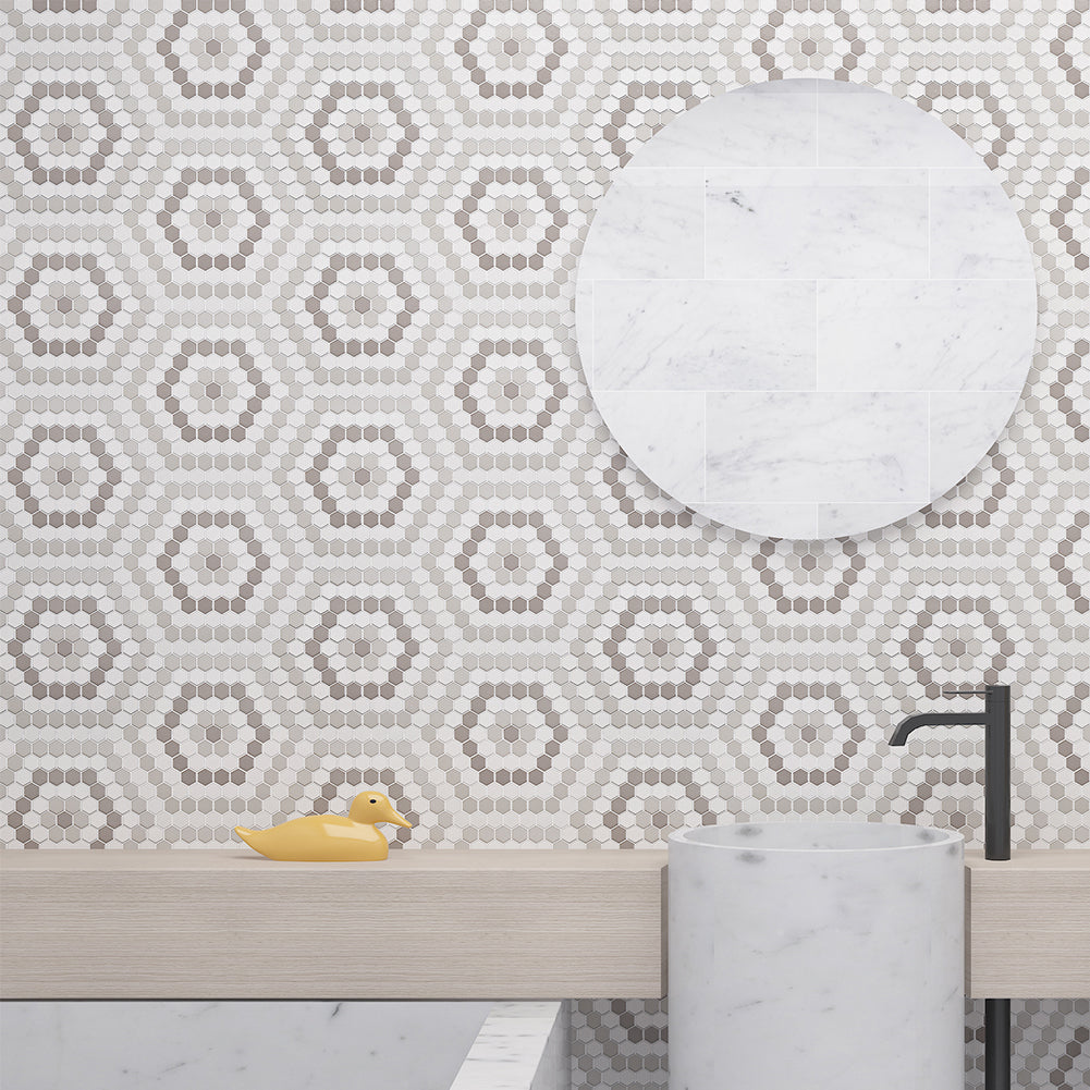 Ceramic 25mm Hexagon Mosaic Tile Honed White &Light Grey & Dark Grey mixed pack of 10