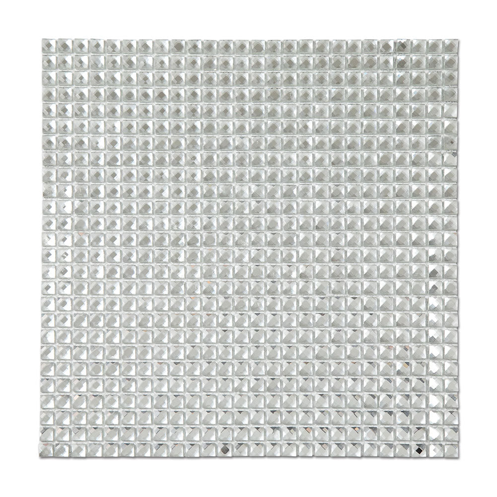"3/8 "" Square 13 Facet Mirror Glass Mosaic Tile Crystal Diamond Mosaic Tile Pack of 5"