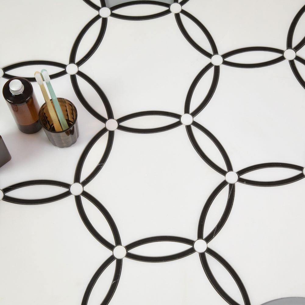 Thassos White with Nero Marquina WaterJet Marble Mosaic Tile