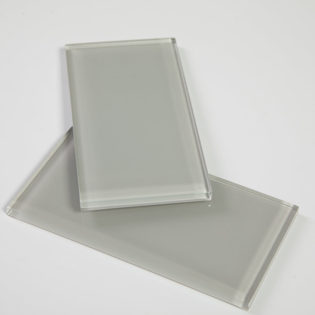 3x6 Light Grey Glass Subway Tile Pack of 40 (5 sq.ft)
