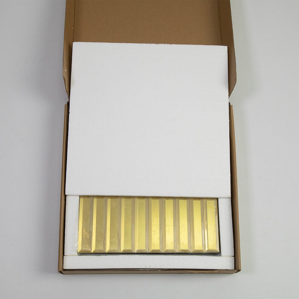 Beveled Gold Mirror Glass Subway Tile 12 x 12 Inch Long Strip Pack of 5 (5 sq.ft)