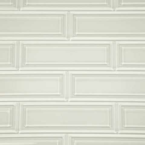 3D White Glass Subway Tile 4x12 Inch Pack of 15 (5 sq.ft)