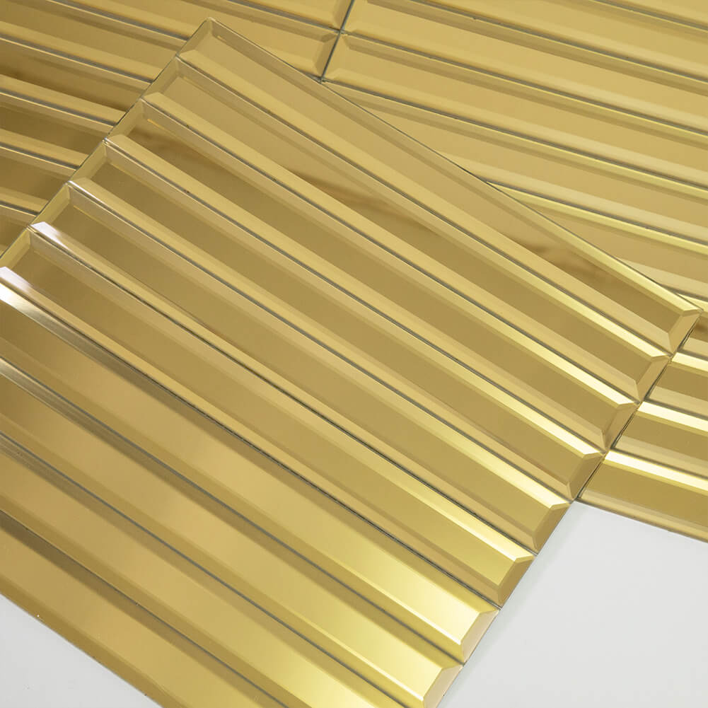 Beveled Gold Mirror Glass Subway Tile 12 x 12 Inch Pack of 5 (5 sq.ft)