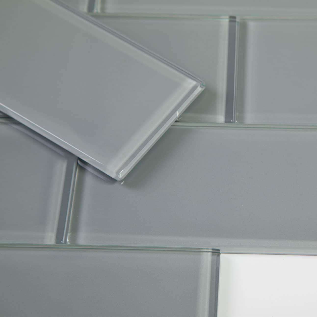 3x6 True Grey Glass Subway Tile Pack of 40 (5 sq.ft)
