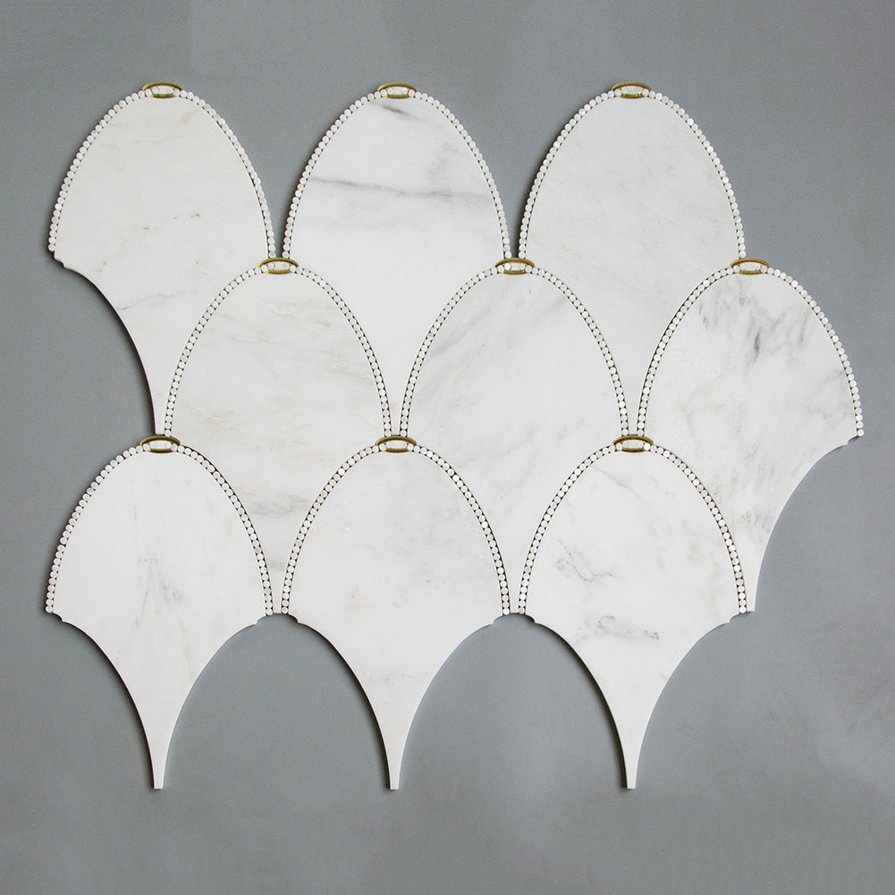 Asian Statuary (Oriental White) Marble with Gold Mirror Pearl Water Jet Mosaic Tile