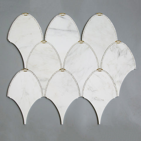 Asian Statuary (Oriental White) Marble with Gold Mirror Pearl WaterJet Mosaic Tile