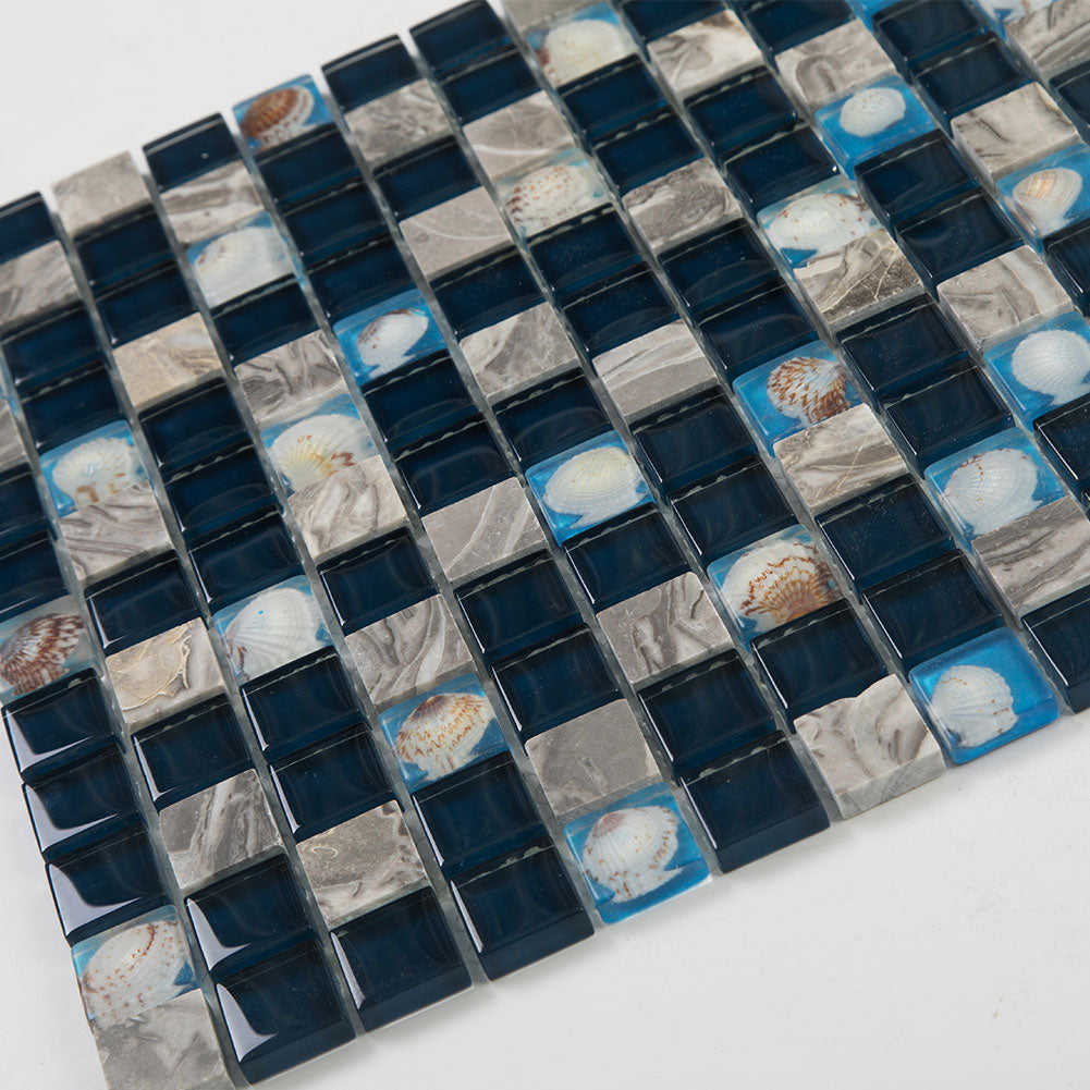 Beach Style Glass Tile MOP in Resin Kitchen Backsplash Tile Deep Sea Pack of 5