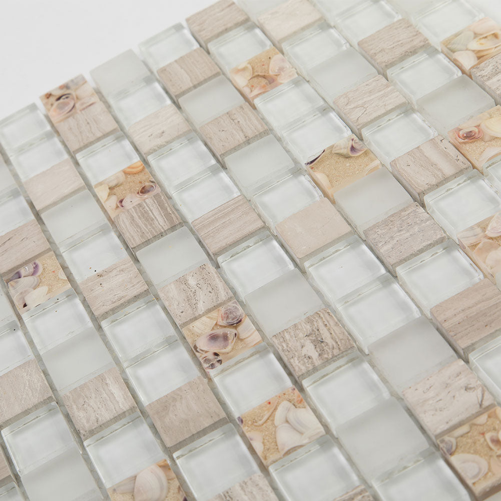 Beach Style Glass Tile MOP in Resin Kitchen Backsplash Tile Shallow Sea Pack of 5