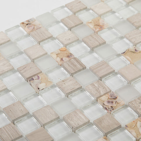 Beach Style Glass Tile MOP in Resin Kitchen Backsplash Tile Shallow Sea