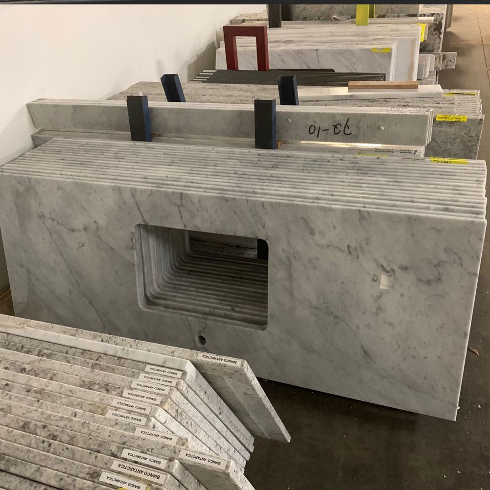 "37"" x 22"" Carrara Marble Vanity Top, White Rectangular Fits Most Standard 36"" W x 21"" Vanity Cabinet, 16 Pieces"