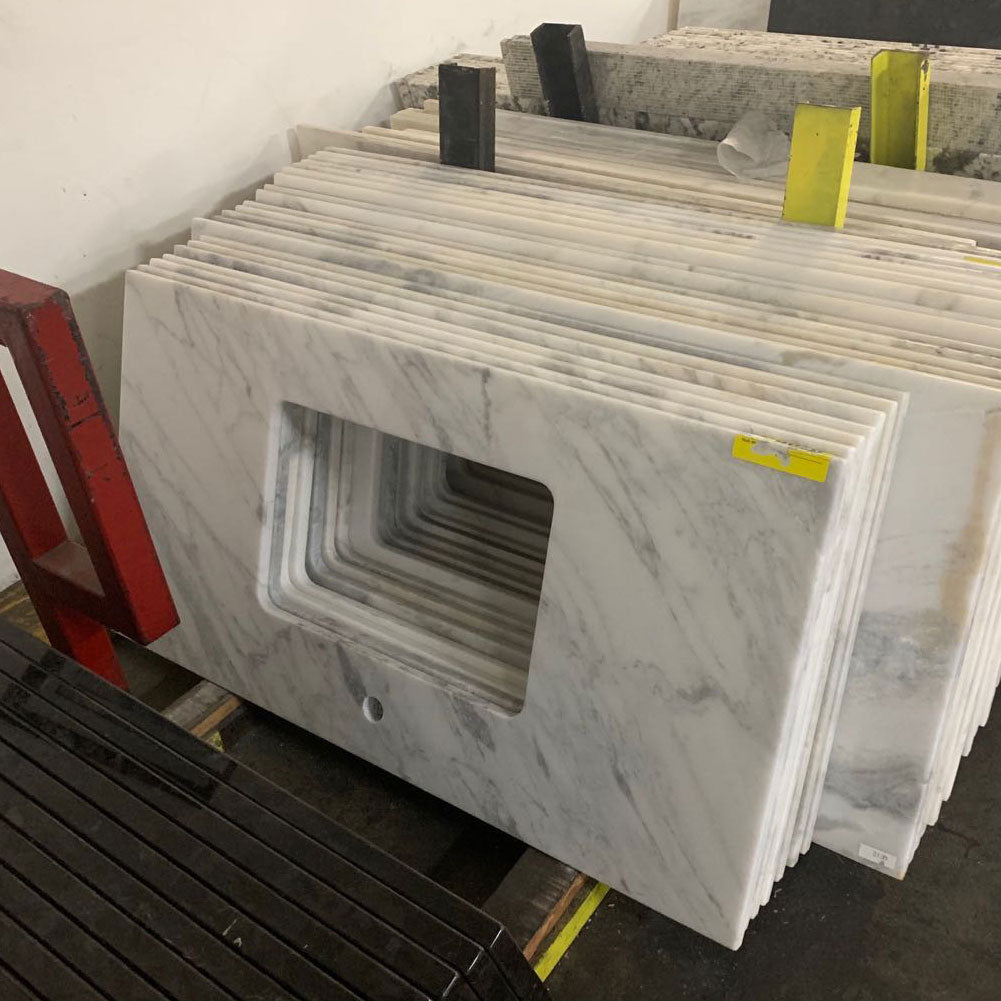 "43"" x 22"" Carrara Marble Vanity Top, White Rectangular Fits Most Standard 42 in. vanity cabinets, 16 Pieces"