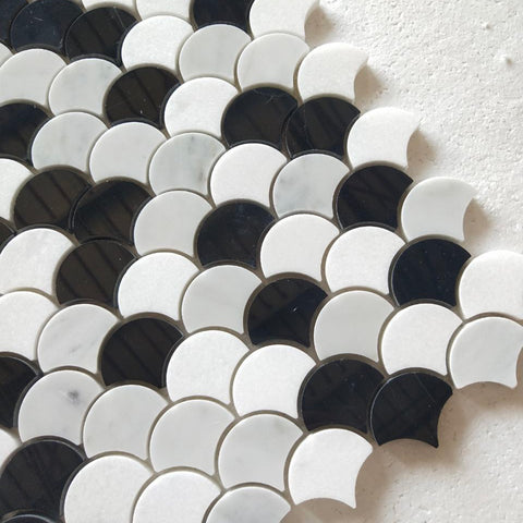 Carrara White Italian Bianco Carrera Thassos Black Nero Marquina Marble Fish Scale Marble Mosaic Tile Pack of 5