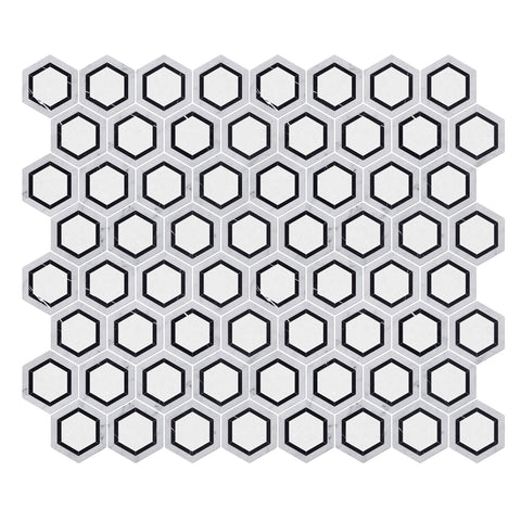 Carrara White & Thassos White & Black Nero Marquina Hexagon WaterJet Marble Mosaic Tile