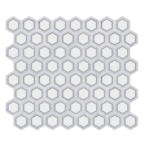 Carrara White & Thassos White & Latin Blue Hexagon WaterJet Marble Mosaic Tile