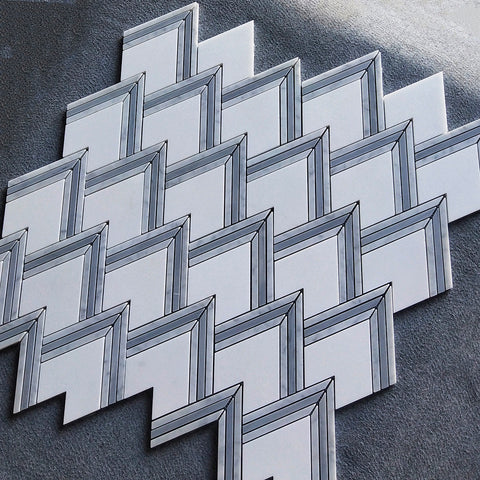 Carrara White & Thassos White & Latin Blue Peaks WaterJet Marble Mosaic Tile