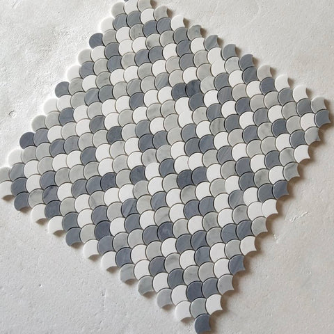 Carrara White & Thassos White & Latin Blue Fan-Shaped WaterJet Marble Mosaic Tile