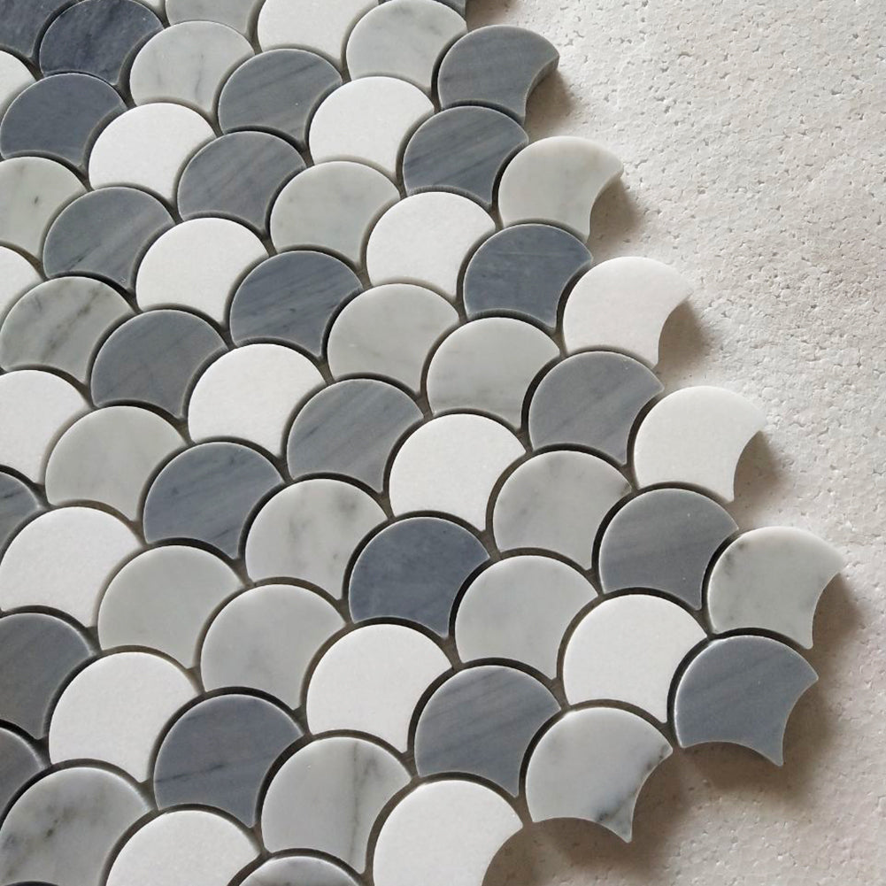 Carrara White Italian Bianco Carrera Thassos Latin Blue Fish Scale Marble Mosaic Tile Pack of 5