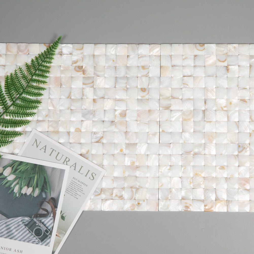 Light Colorful Mother Of Pearl Shell Mosaic 3D Cambered Curved Arched Square Tile Pack of 10