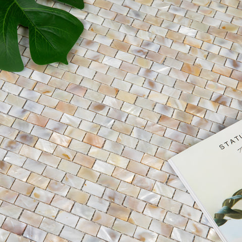 Light Colorful Pearl Shell Brick Mosaic Tile Pack of 10