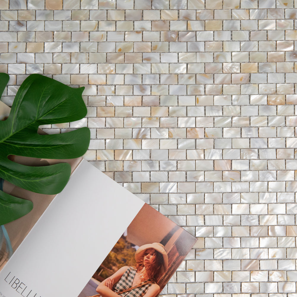 Light Colorful Mother Of Pearl Shell Mosaic Brick Tile Pack of 10