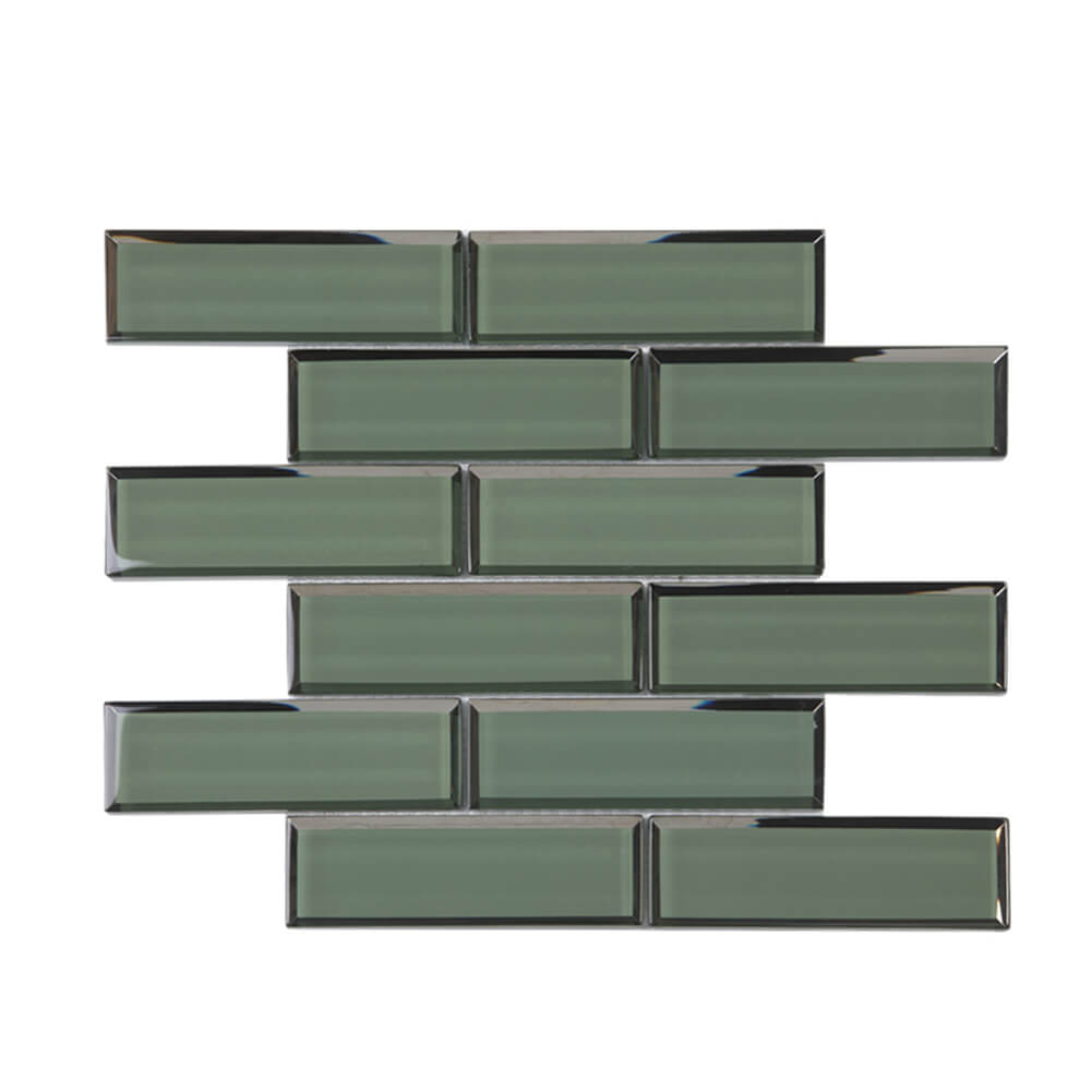 Glass Subway Tile Bottom Beveled Edge 12 x 12 Inch Dark Green (5-Pack, 5 sq.ft.)