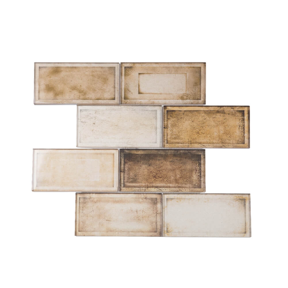Glass Subway Tile Industrial Age Retro Brown 12 x 12 Inch (5-Pack, 5 sq.ft.)