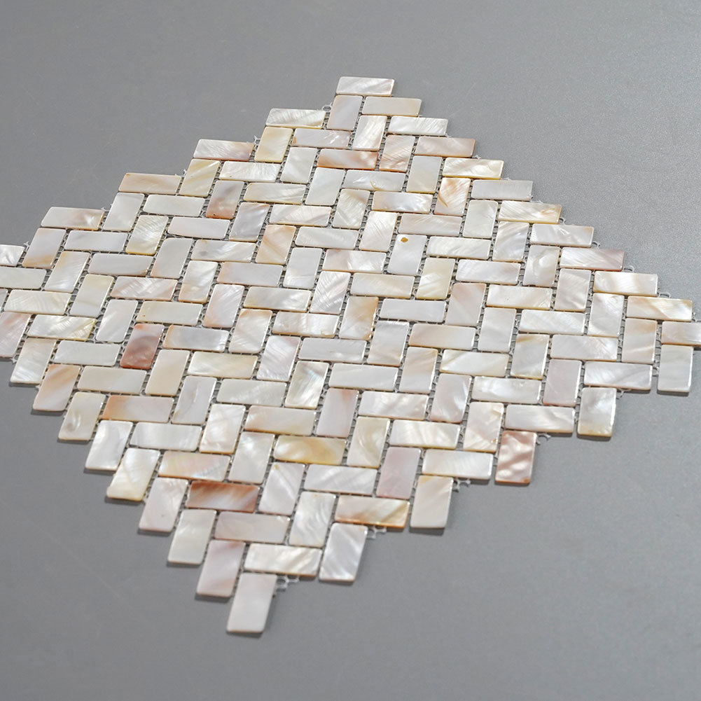 Light Colorful Mother Of Pearl Shell Mosaic Herringbone Tile Pack 0f 10