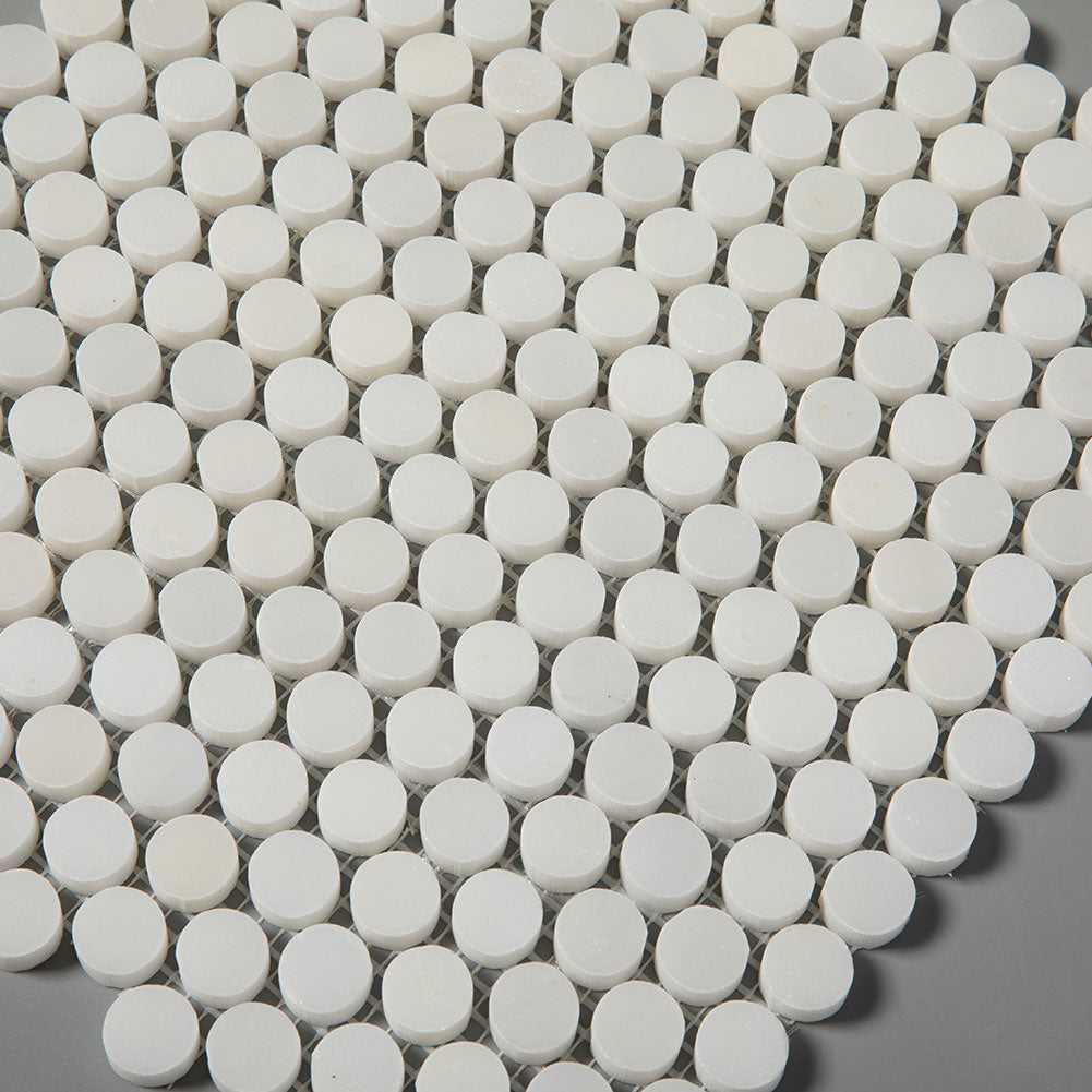 Penny Round Royal White Marble Tile 3/4 inch
