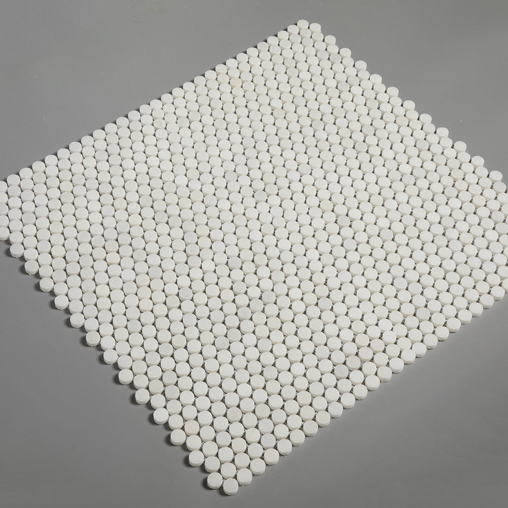 Royal White Marble 3/4 inch Penny Round Mosaic Tile Pack of 5