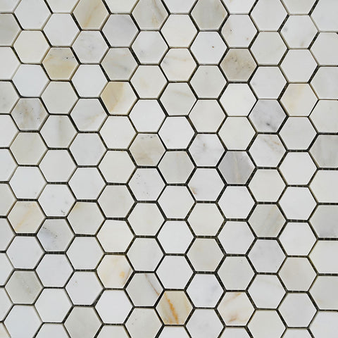 Hexagon Calacatta Gold Mosaic Tile 1 inch