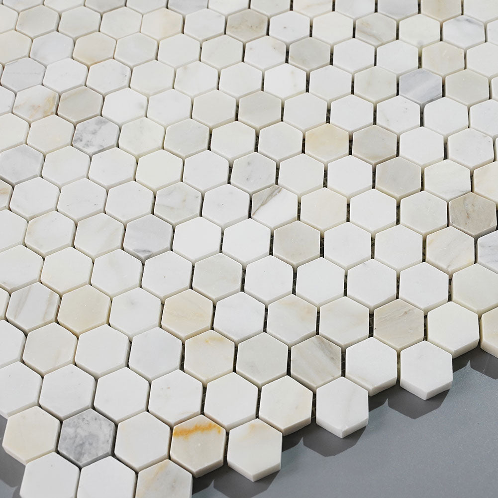 Calacatta Gold Marble 1 inch Hexagon Mosaic Tile Pack of 5