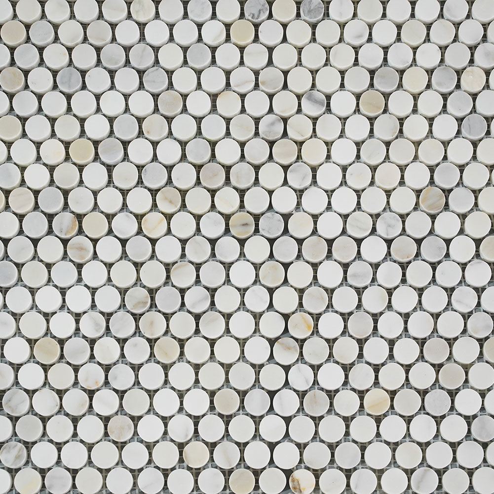 Penny Round Calacatta Gold Mosaic Tile 3/4 inch