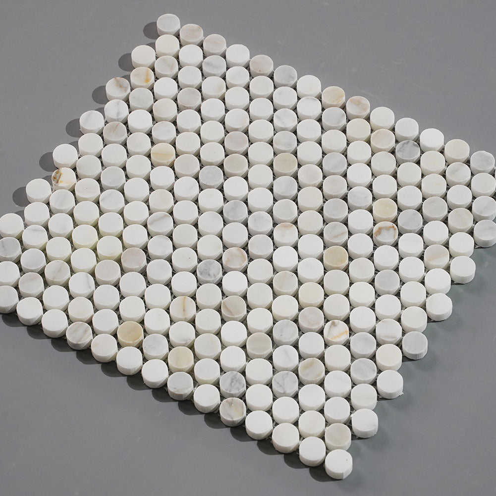 Calacatta Gold Marble 3/4 inch Penny Round Mosaic Tile Pack of 5