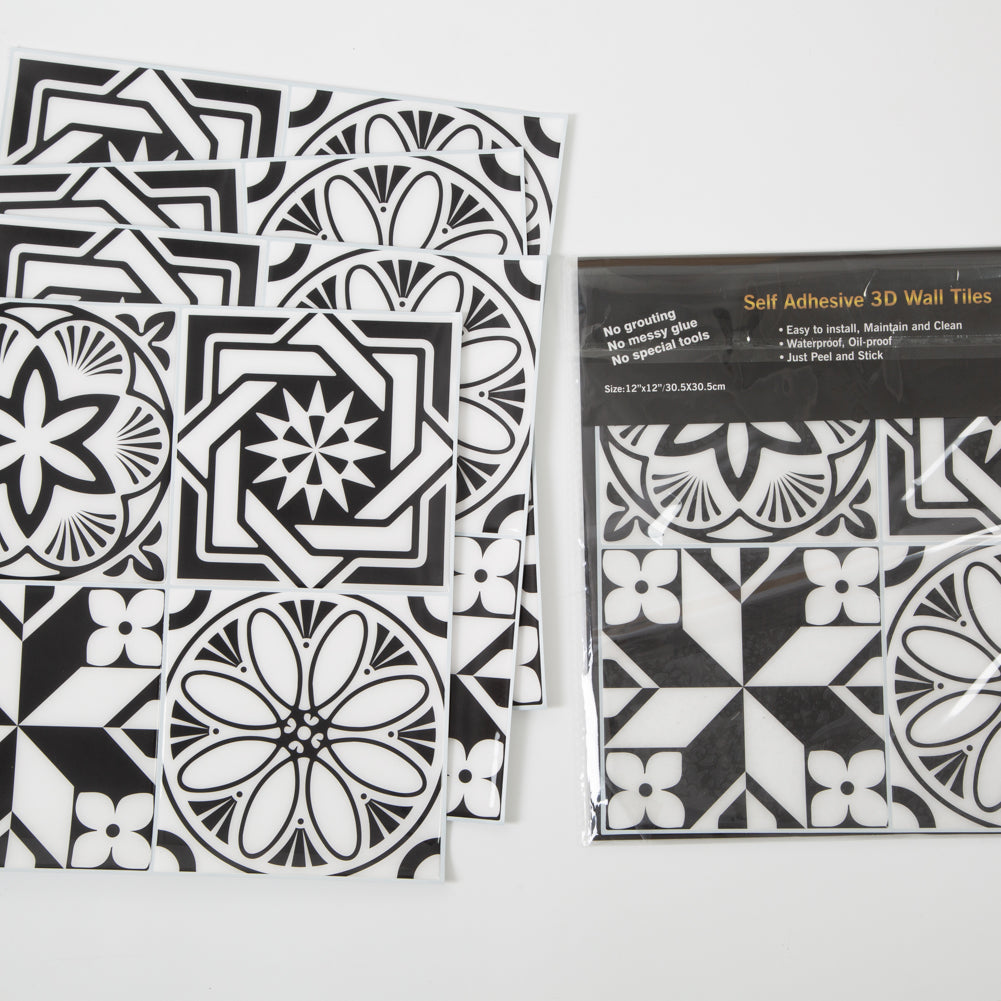Peel and Stick Tile for Backsplash Black Graphic Flower Pattern Self Adhesive Decals 12x12 inch,  Pack of 5