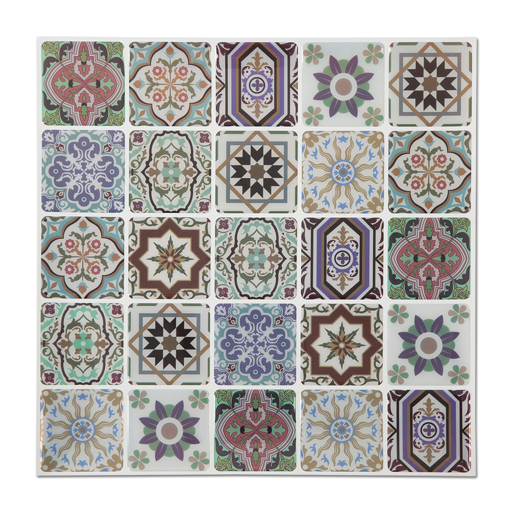 Peel and Stick Tile for Backsplash Moroccan Caro Graphic Pattern Self Adhesive Decals 12x12 inch, Pack of 5