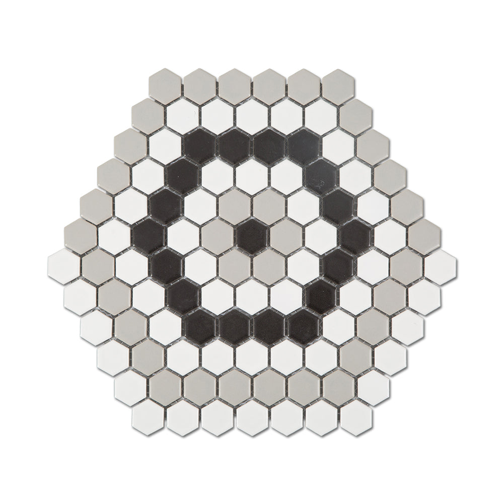 Ceramic 1 Inch Hexagon Mosaic Tile Honed White &Light Grey & Black Mixed Pack of 10