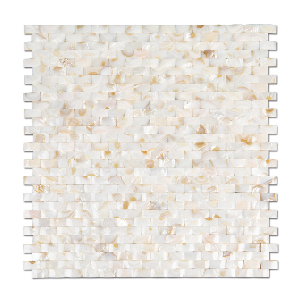 Light Colorful Mother of Pearl Shell Mosaic 3D Cambered Curved Arched Brick Tile Pack of 10