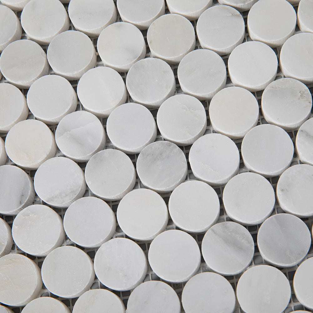 Asian Statuary (Oriental White) Marble 1 inch Penny Round Mosaic Tile Pack of 5