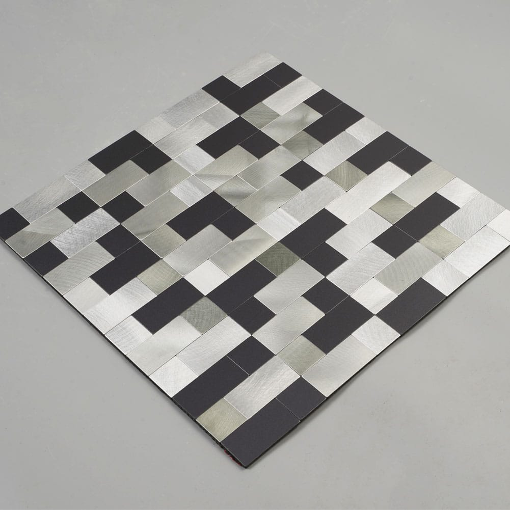 Silver & Black Peel and Stick Backsplash Panel Stainless Steel Metal Tiles Pack of 5