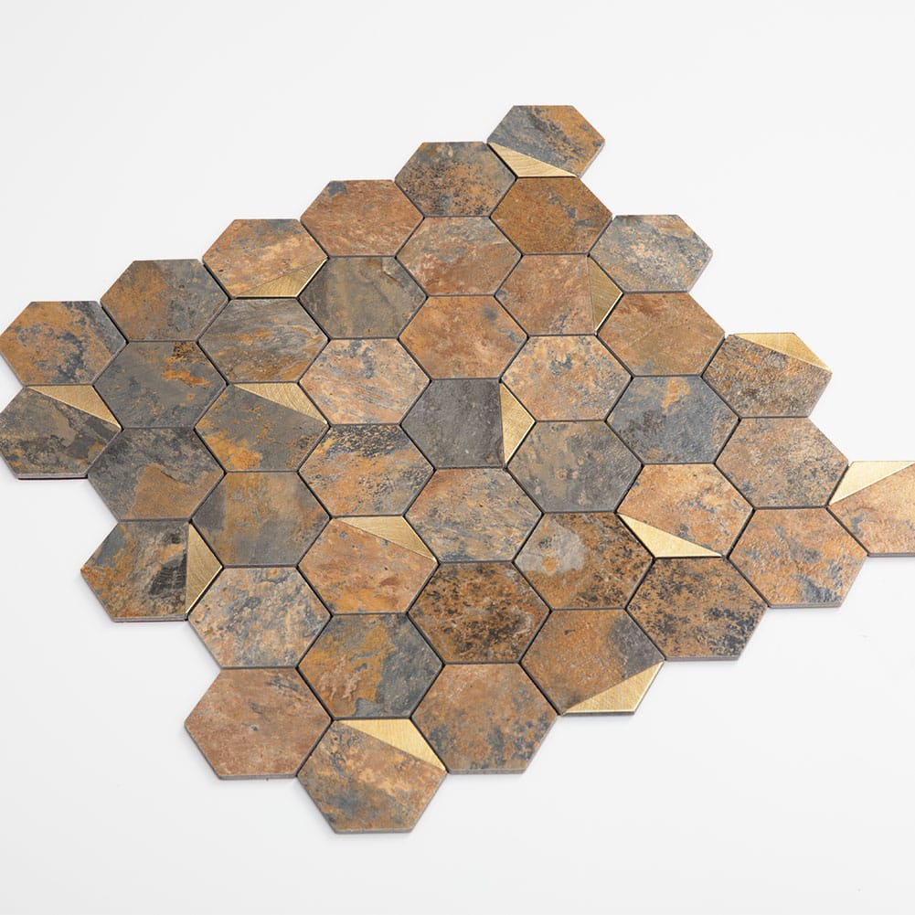 Brown Peel and Stick Backsplash PVC Rusty Slate Stone 2 Inch Hexagon Metal Tiles Pack of 5