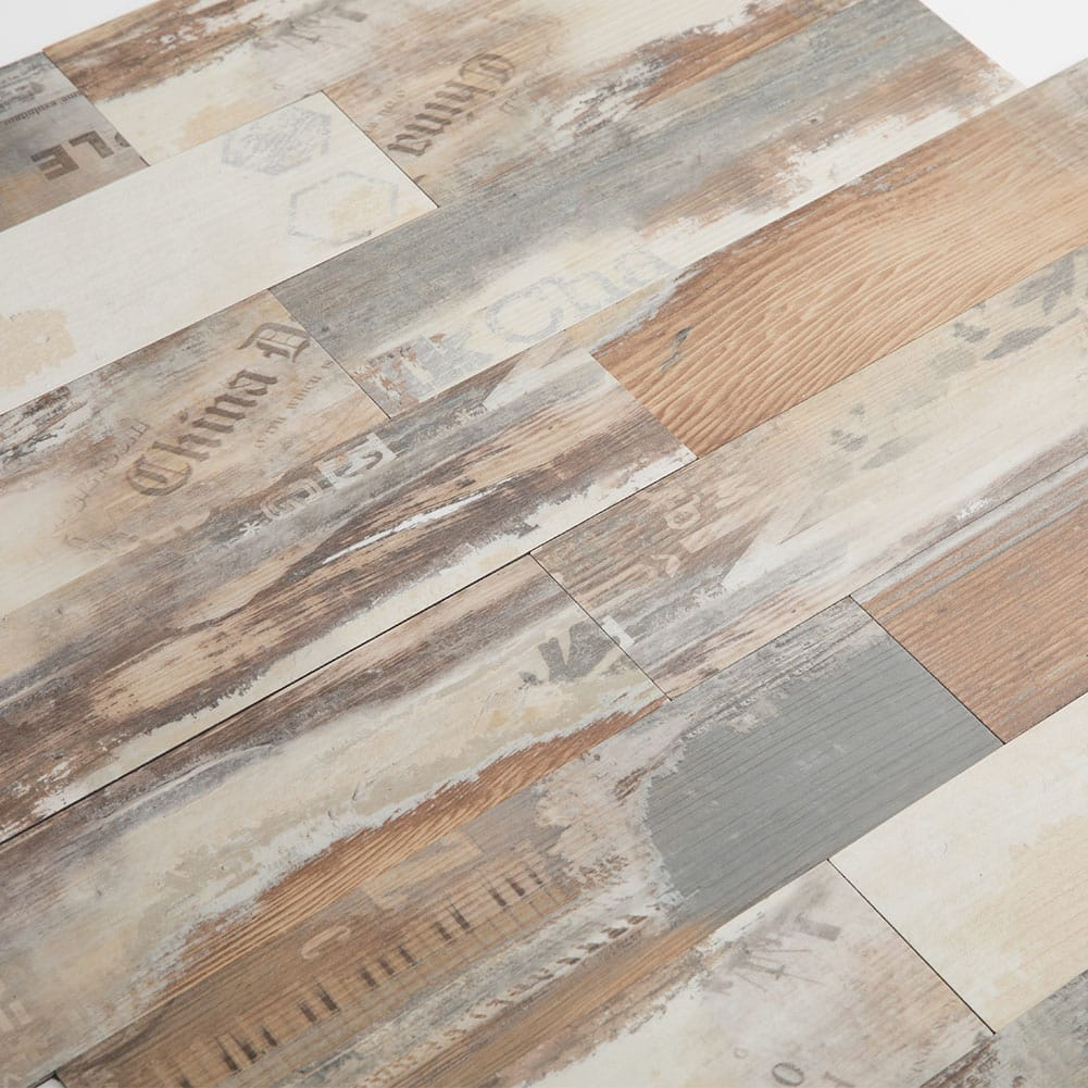 Peel and Stick Backsplash PVC Composite Distressed Wood Grain Tiles Pack of 5